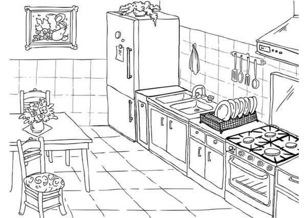Dibujo Para Colorear Cocina