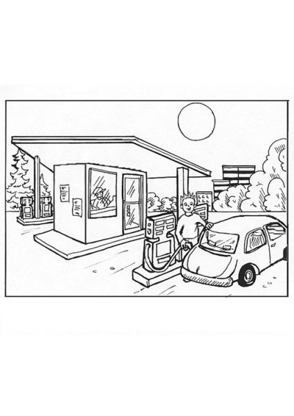 Dibujo Para Colorear Gasolinera