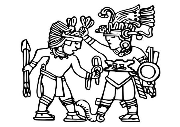 Dibujo Para Colorear Murales Aztecas