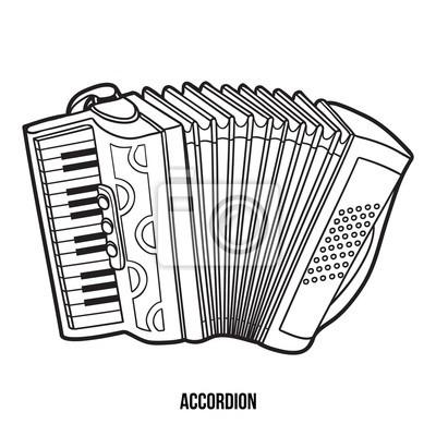 Dibujo Para Colorear Para Niños  Instrumentos Musicales (acordeón