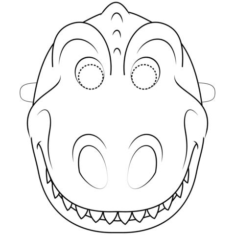 Dibujo De Máscara De Dinosaurio Para Colorear