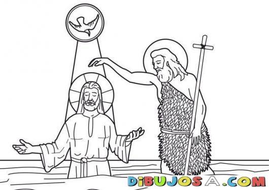 Dibujo Del Bautizo De Jesus Para Colorear