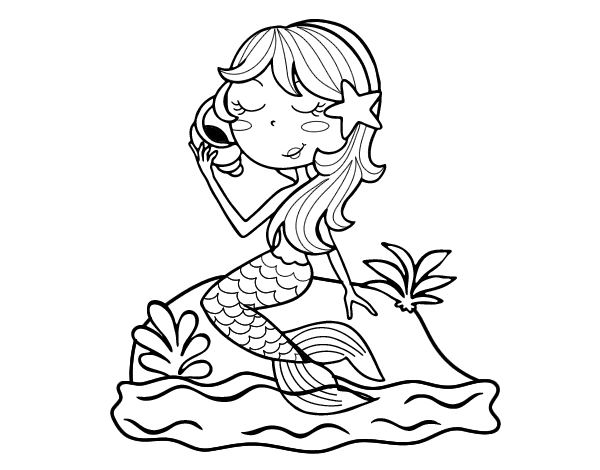 Dibujo De Sirena Sentada En Una Roca Con Una Caracola Para