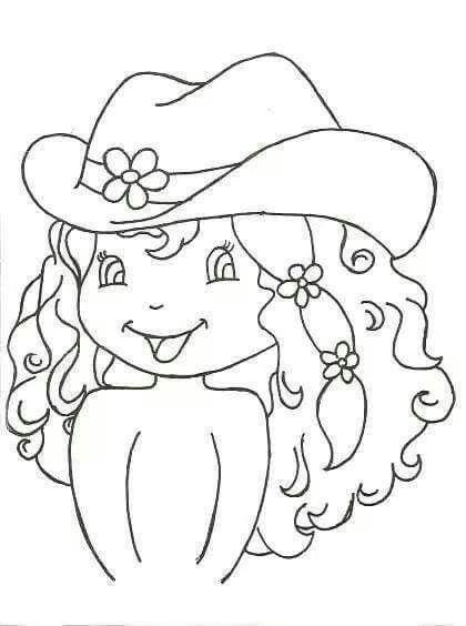 Dibujo Nina Con Sombrero