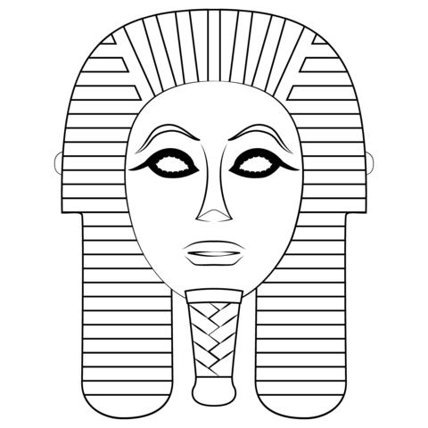 Dibujo De Máscara Funeraria Egipcia Para Colorear
