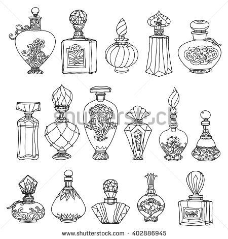 Black And White Fantasy Vintage Perfumes  Pattern