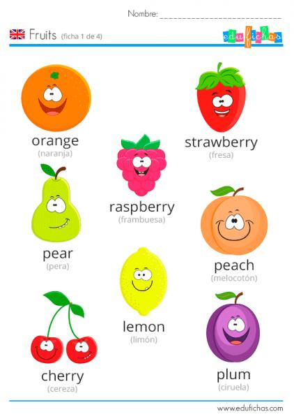 ▷ Frutas En Inglés Para Niños