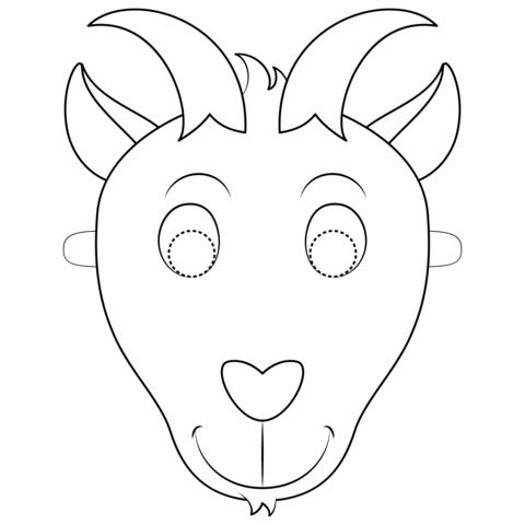 Dibujo De Máscara De Cabra Para Colorear