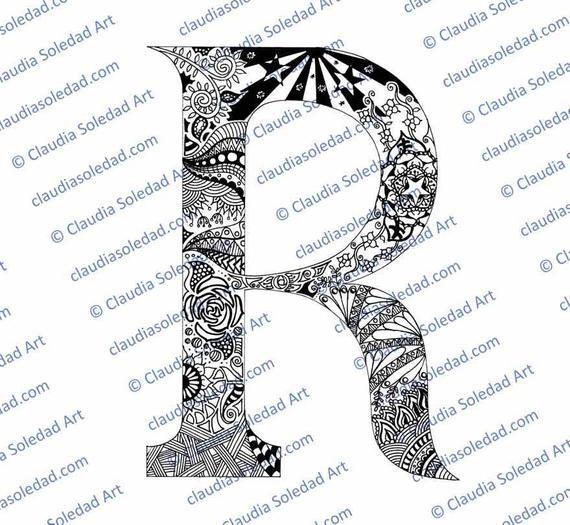 Letra R Con Mandalas Para Colorear Imprimible