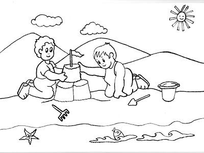 Dibujos Gratis Para Imprimir Y Colorear De Jugando En La Playa