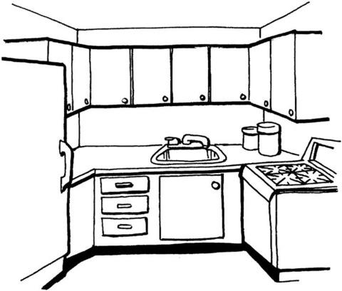 Dibujo De Cocina Para Colorear