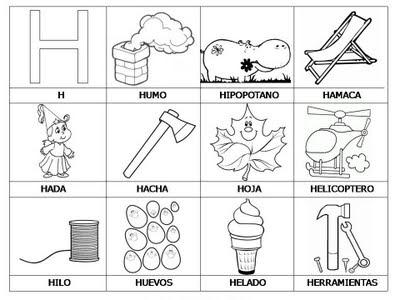 Laminas Con Dibujos Para Aprender Palabras Y Colorear Con Letra  H