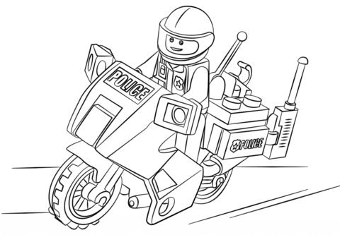 Dibujo De Moto De Policía Para Colorear