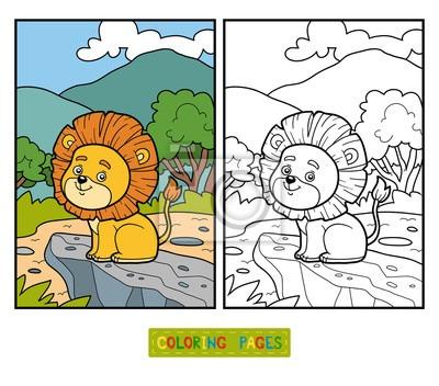 Libro Para Colorear Para Niños  Pequeño León En áfrica Carteles