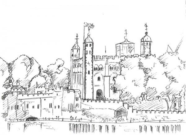 Dibujo Para Colorear Relajante Londres   Torre De Londres 9