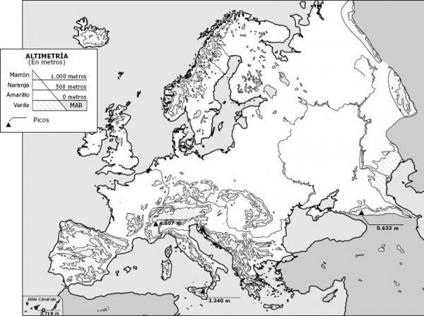 Mapa Relieve De Europa En Blanco Y Negro