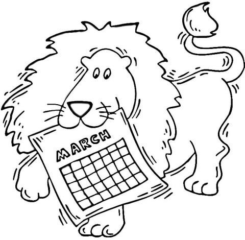 Dibujo De León Con El Calendario De Marzo Para Colorear