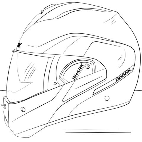 Dibujo De Casco De Moto Para Colorear