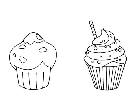 Dibujo De Muffin Y Cupcake Para Colorear