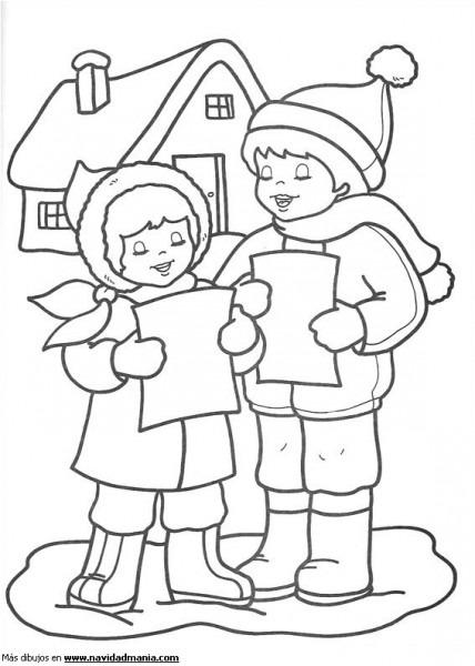 Dibujo De Niños Cantando Para Colorear De Navidad