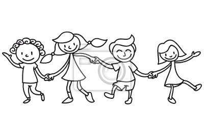 Niños, Amistad, Colorear Pinturas Para La Pared • Cuadros Maestro