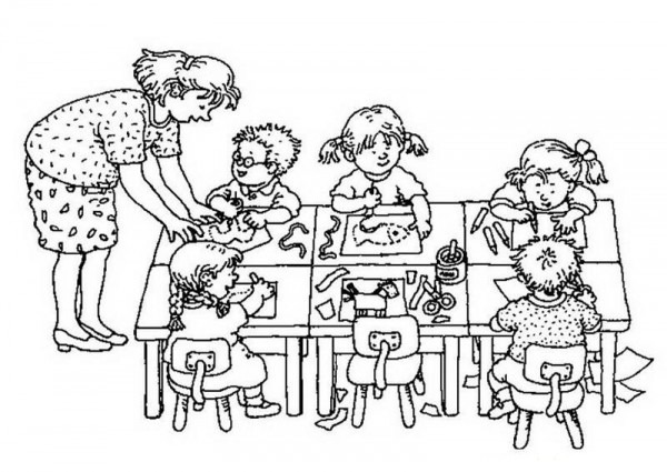 Dibujos De Niños Estudiando En La Escuela Para Colorear