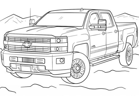 Dibujo De 2017 Chevrolet Silverado Para Colorear