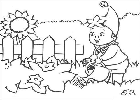 Dibujo De Noddy Riega El Jardín Para Colorear