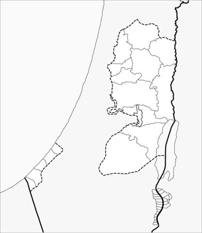 Dibujo De Mapa De Palestina, Banco Oeste Y Franja De Gaza Para