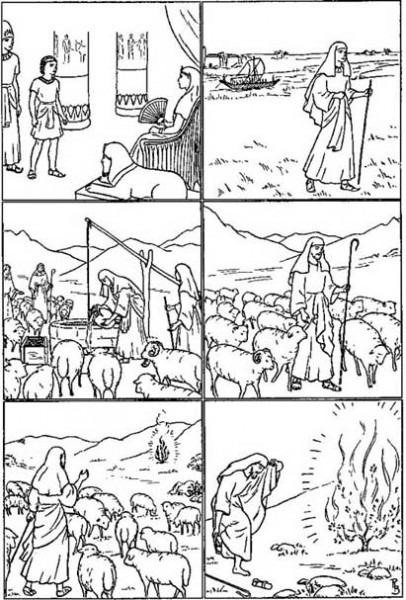 Historia De Moisés Para Niños Para Colorear