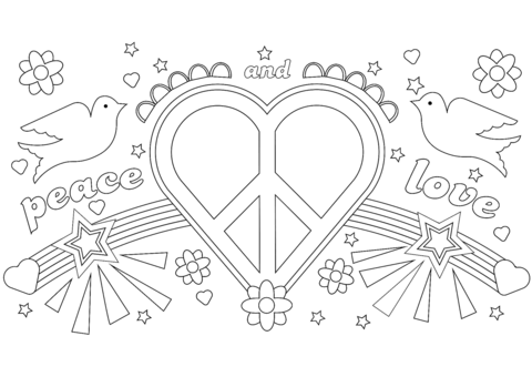 Dibujo De Paz Y Amor Para Colorear