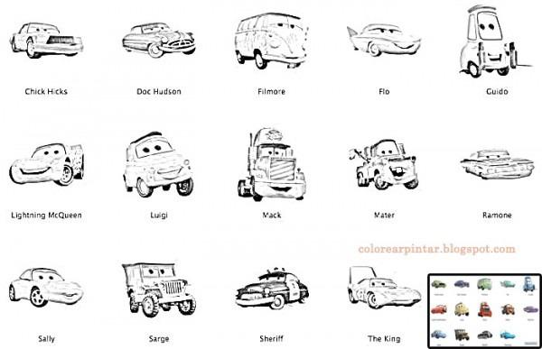 Colorear Pintar  Personajes De Cars Para Colorear