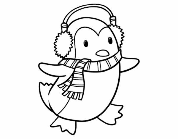 Dibujo De Pingüino Con Bufanda Pintado Por En Dibujos Net El Día