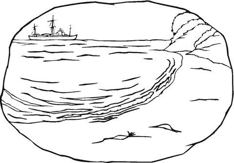 Dibujo De La Orilla Del Mar Para Colorear