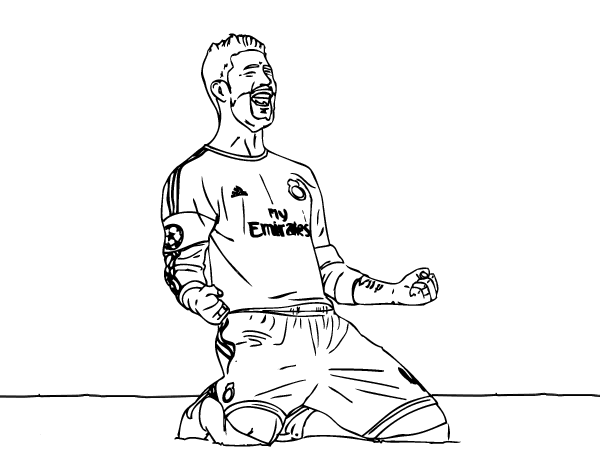 Dibujo De Sergio Ramos Celebrando Un Gol Para Colorear