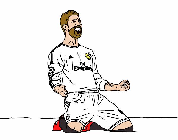 Dibujo De Sergio Ramos Celebrando Un Gol Pintado Por En Dibujos