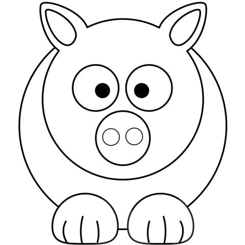 Dibujo De Dibujo Sencillo De Cerdo Para Colorear