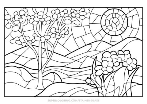 Dibujo De Vidriera De Primavera Para Colorear