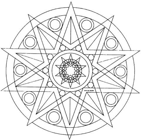 Dibujo De Mandala De Estrella Para Colorear