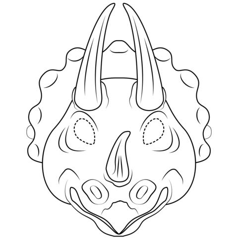 Dibujo De Máscara De Tricerátops Para Colorear