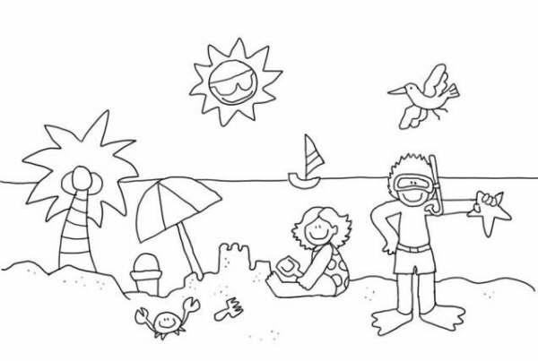 Niños Jugando En La Playa Para Colorear