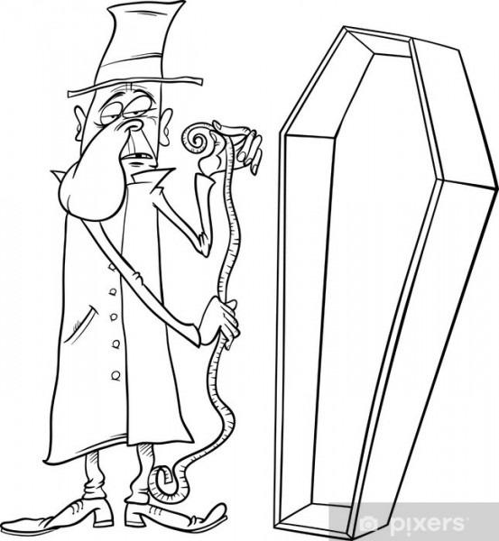Vinilo Pixerstick Funeraria Con La Ilustración De Dibujos Animados