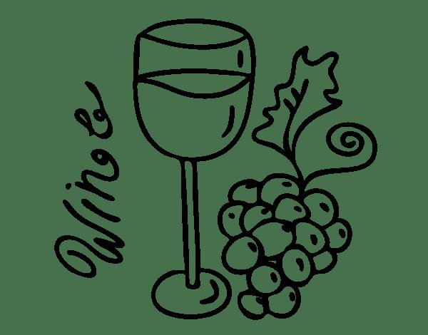 Dibujo De Vino Tinto Para Colorear