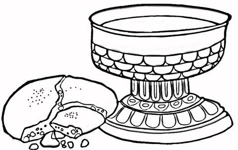 Dibujo De Vino Y Pan Para Colorear