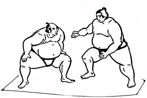 Dibujo De Lucha De Sumo Para Colorear