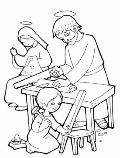 Colorear Jesus Ayuda A Su Padre Jose