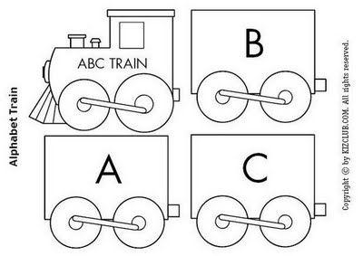 Escribir Abecedario Tren Para Colorear, Recortar Y Montar  Para