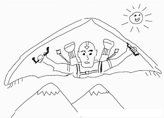Dibujo De Maestro Del Aire Volando En Parapente Para Pintar Y