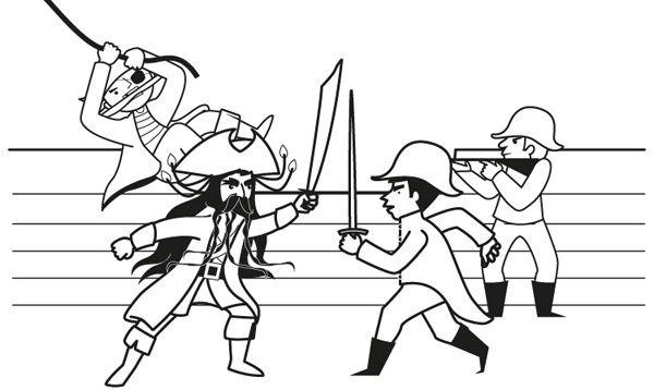 Ataque De Piratas  Dibujo Para Colorear E Imprimir