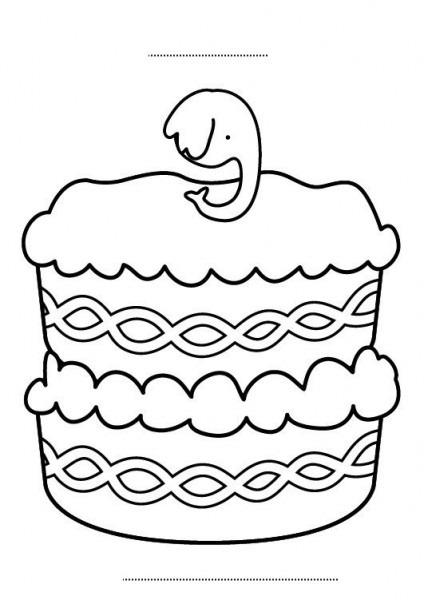 Tarta De Cumpleaños 9 Años  Dibujo Para Colorear E Imprimir